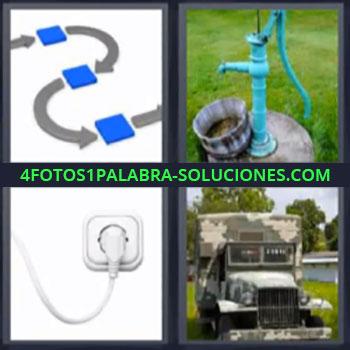 4 Fotos 1 Palabra - ocho-letras enchufe camion militar, Indicaciones plano flechas, Pozo de agua manual
