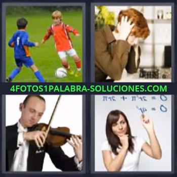 4 Fotos 1 Palabra - cuatro-letras futbol violin, Jugando al ajedrez, Escribiendo formulas en una pizarra.