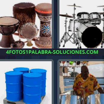 4 Fotos 1 Palabra - cuatro-letras batería, tambores, instrumentos musicales de percusión, hombre de color tocando el tambor, 4 bidones azules..