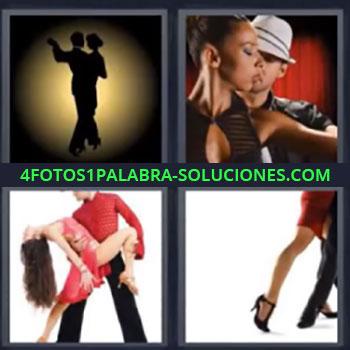 4 Fotos 1 Palabra - siete-letras baile, pareja bailando, bailar, mujer y hombre de rojo bailando, pasos de baile …
