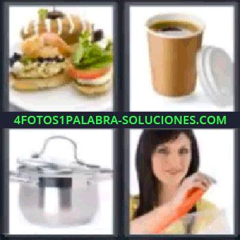4 Fotos 1 Palabra - seis-letras cacerola, Bocadillos, Café para llevar, Cacerola, Señora abriendo un envase.