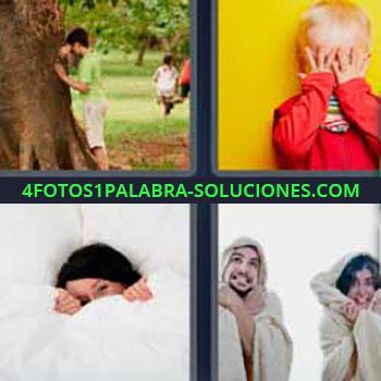 4 Fotos 1 Palabra - niño cubriéndose los ojos. Jugando al escondite o a las escondidas. Chica tapada en la cama. Pareja con albornoz o bata.