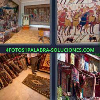 4 Fotos 1 Palabra - seis-letras alfombras colgadas. Alfombras mercado. Murales pintados. Cortinas.