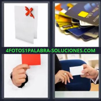 4 Fotos 1 Palabra - seis-letras ayuda 7 letras , tarjeta de regalo, montón de tarjetas de crédito, mano cogiendo papel rojo, chico dándole tarjeta a chica.