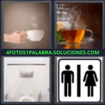 4 Fotos 1 Palabra - vater, Manos con una bebida caliente, Te, Vater, Cartel WC.