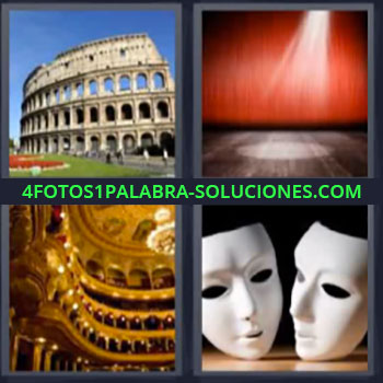 4 Fotos 1 Palabra - cinco-letras coliseo de roma. Escenario. Interior palacio. Caretas o mascaras blancas
