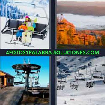 4 Fotos 1 Palabra - teleférico. Telesquí. Montañas. Nieve. Esquiar. Cable teleférico.