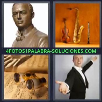4 Fotos 1 Palabra - ocho-letras estatua instrumentos, Prismáticos, Señor cantando