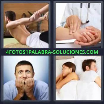 4 Fotos 1 Palabra - ocho-letras estirando la espalda, Doctor tomando la presión, Chico mordiéndose las uñas, Pareja en la cama dándose la espalda.