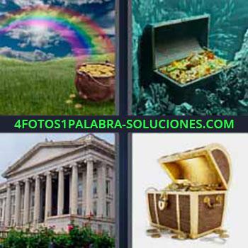 4 Fotos 1 Palabra - monedas de oro y arcoíris. Baúl en el mar lleno de joyas y oro. Edificio parecido a la Casa blanca. Tesoro en baúl.