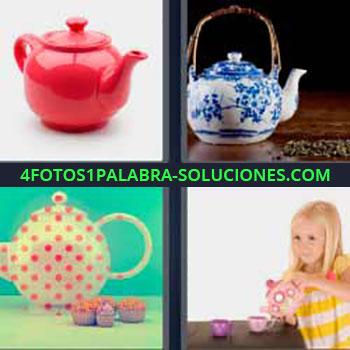 4 Fotos 1 Palabra - cinco-letras jarra roja. Recipientes. Café. Tetera. Niña sirviendo el te.