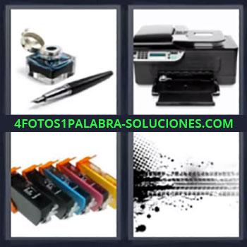 4 Fotos 1 Palabra - cuatro-letras impresora, pluma y bote de tinta, cartuchos de impresora, marca de pintura negra …