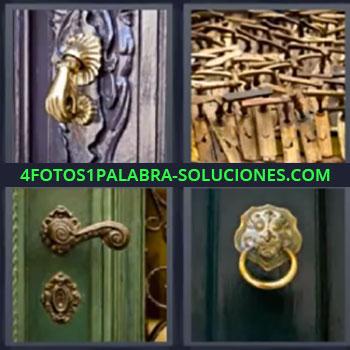 4 Fotos 1 Palabra - siete-letras manijas, Mano de hierro para llamar a la puerta, Maderas, Cerradura, Picaporte.
