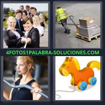 4 Fotos 1 Palabra - cinco-letras cuerda, gente tirando de una cuerda, obrero llevando carga, mujer con máquina de gimnasio, caballito con ruedas …
