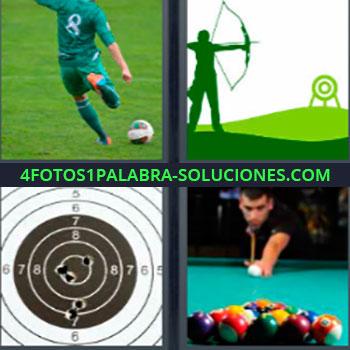 4 Fotos 1 Palabra - siete-letras Futbolista. Imagen tiro con arco. Diana. Jugando al billar.