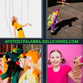 4 Fotos 1 Palabra - siete-letras marioneta. Cuerdas mujer. Guiñol. Muñecos. Niña con marioneta.