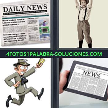 4 Fotos 1 Palabra - news. Periódico. Daily News. Niño. Dibujo de reportero. Ipad o tablet con las noticias.