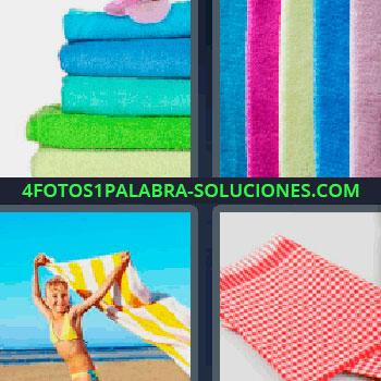 4 Fotos 1 Palabra - mujer en la playa con toalla amarilla de rayas, toallas de colores, mantel, trapos de colores, telas.