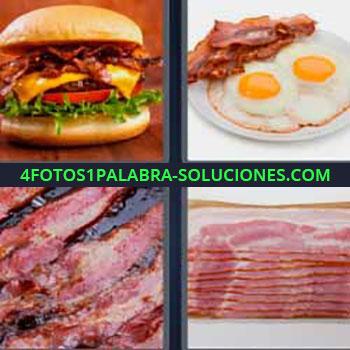 4 Fotos 1 Palabra - cinco-letras hamburguesa. Huevos fritos y bacon. Jamón cocido. Tocino frito o asado.