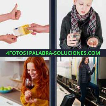 4 Fotos 1 Palabra - seis-letras billete 200 euros. Niño con bufanda tomando pastilla. Mujer pelirroja con copa de vino. Mujer con maleta subiendo al tren.