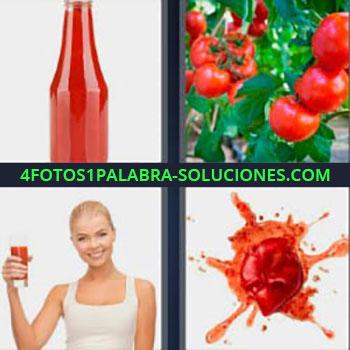 4 Fotos 1 Palabra - siete-letras mancha de pintura roja. Ketchup. Salsa roja. Bote de cristal con tomate frito. Tomates en la planta. Mujer rubia con vaso. Gota de pintura