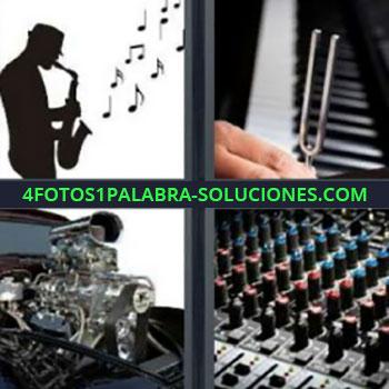 4 Fotos 1 Palabra - saxofonista motor, mesa de mezclas, diapasón, notas musicales, saxo