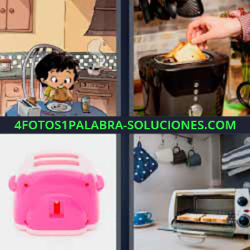4 Fotos 1 Palabra - niño comiendo sandwich caricatura. Tostando pan. Cacharro rosa. Electrodoméstico hornear pan.