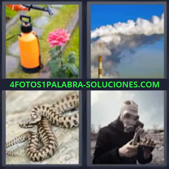 4 Fotos 1 Palabra - cinco-letras chimenea echando humo. Fumigando plantas. Serpiente. Señor con mascara de seguridad.