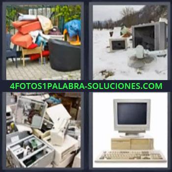 4 Fotos 1 Palabra - cinco-letras computadora vieja, Muebles viejos en el jardin, Television y computadora en la nieve