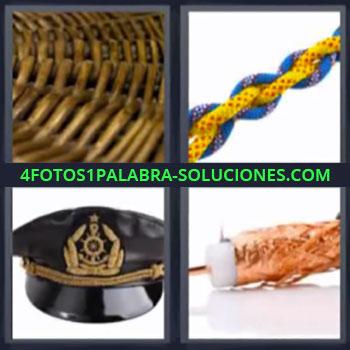 4 Fotos 1 Palabra - cuatro-letras cuerda mimbre, Gorra o sombrero de marinero o capitán de barco.