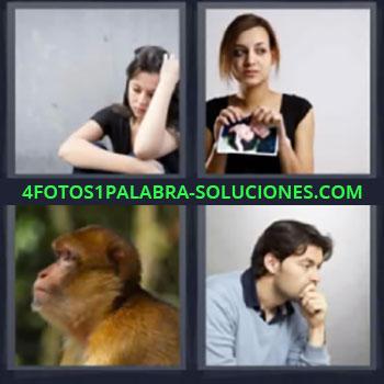 4 Fotos 1 Palabra - mujer rompe foto, Chica pensando, Mono o primate, Hombre pensando