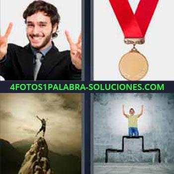 4 Fotos 1 Palabra - medalla con cinta roja. Hombre dedos ok. Persona en el pico de montaña. Niño en lo alto de podio o podium.
