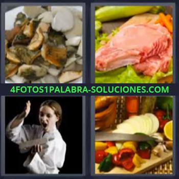 4 Fotos 1 Palabra - seis-letras karateka comida, Plato con champiñón hongos o setas, Cortes de carne, Verduras.