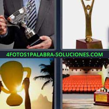 4 Fotos 1 Palabra - ocho-letras hombre copa. Premio. Levantando la copa. Triunfo. Gradas butacas naranjas.