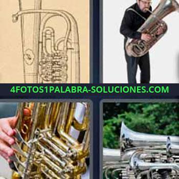 4 Fotos 1 Palabra - cuatro-letras instrumento de viento. Saxofón. Hombre tocando.