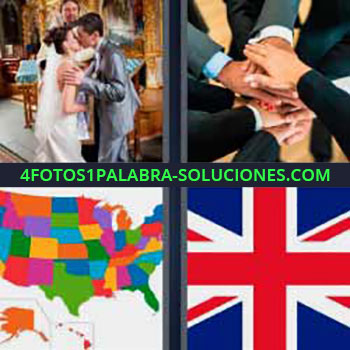 4 Fotos 1 Palabra - cinco-letras bandera reino unido. novios casándose. Muchos juntando las manos. Mapa de Estados Unidos.