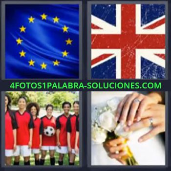 4 Fotos 1 Palabra - cinco-letras bandera Europa, Bandera Reino Unido, Equipo de futbol, Boda