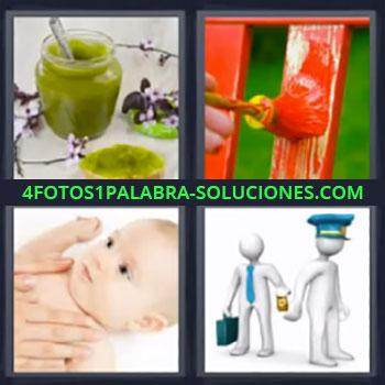 4 Fotos 1 Palabra - mermelada, bote de mermelada verde, pintando de rojo con brocha, bebé con manos de su madre, soborno a policía …