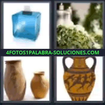 4 Fotos 1 Palabra - seis-letras jarrones, Caja azul con un sobre, Plantas y velas, Anforas, Jarrón.