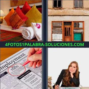 4 Fotos 1 Palabra - siete-letras almohadones o cojines. Fachada casa vieja. Marcando en periódico. Chica escribiendo en oficina