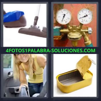4 Fotos 1 Palabra - cuatro-letras aspirador, aspiradora, válvulas de presión, chica aspirando coche, lata vacía …