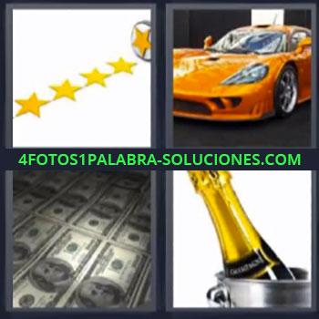 4 Fotos 1 Palabra - ocho-letras estrellas billetes, Coche o auto deportivo, Champagne.