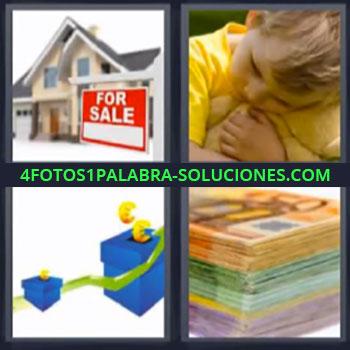 4 Fotos 1 Palabra - seis-letras casa en venta billetes, Niño de amarillo abrazando a osito de peluche, Cajas azules y flechas verdes ascendentes, Billetes euros.