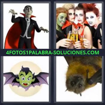 4 Fotos 1 Palabra - murciélago, Drácula, 4 chicas disfrazadas, Dibujo de un vampiro, Murciélago.