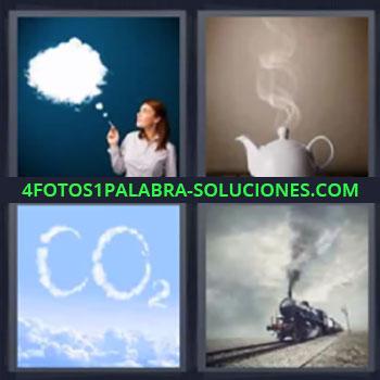 4 Fotos 1 Palabra - siete-letras humo, chica con humo de tabaco, tetera humeante, nubes CO2, tren de vapor …