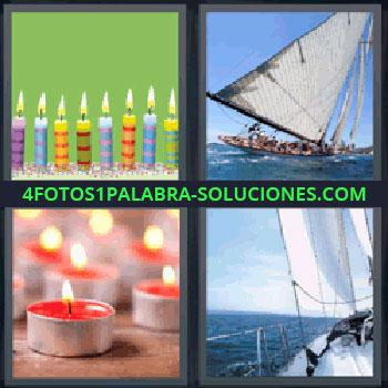 4 Fotos 1 Palabra - velero, Velas de cumpleaños, Barco Velero, Velas rojas, Yate.