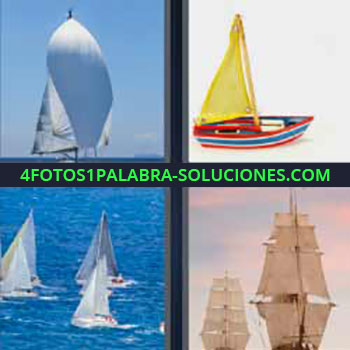 4 Fotos 1 Palabra - cinco-letras barco vela. Barca de pescadores. Embarcación. Veleros. Galeones o goletas antiguas. Carabela.