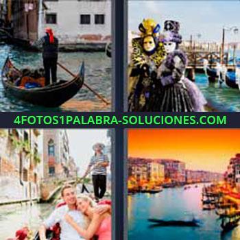 4 Fotos 1 Palabra - seis-letras góndola. Disfrazados con máscaras. Canales de agua y barcas.