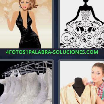 4 Fotos 1 Palabra - modista, mujer de negro, ropa colgada en perchas, dibujo de mujer con vestido en blanco y negro.