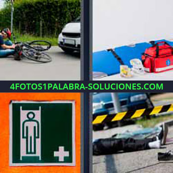 4 Fotos 1 Palabra - seis-letras accidente bicicleta. Camilla y equipo médico. Cartel enfermería. Accidente mortal.